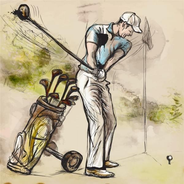 Topic: GOLF (Posture Golf swing). An hand drawn illustration converted into vector. Vector is easy editable in layers and groups.